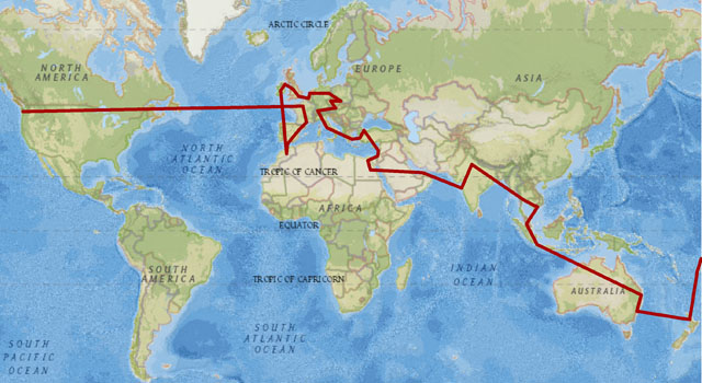 The Route for our Round the World Trip