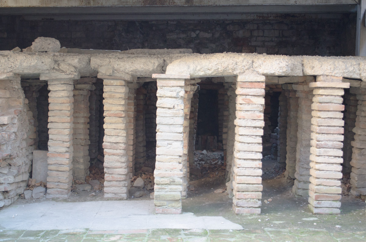 Raised floor in a Roman bath. The hot air from the fires would heat the baths from below.