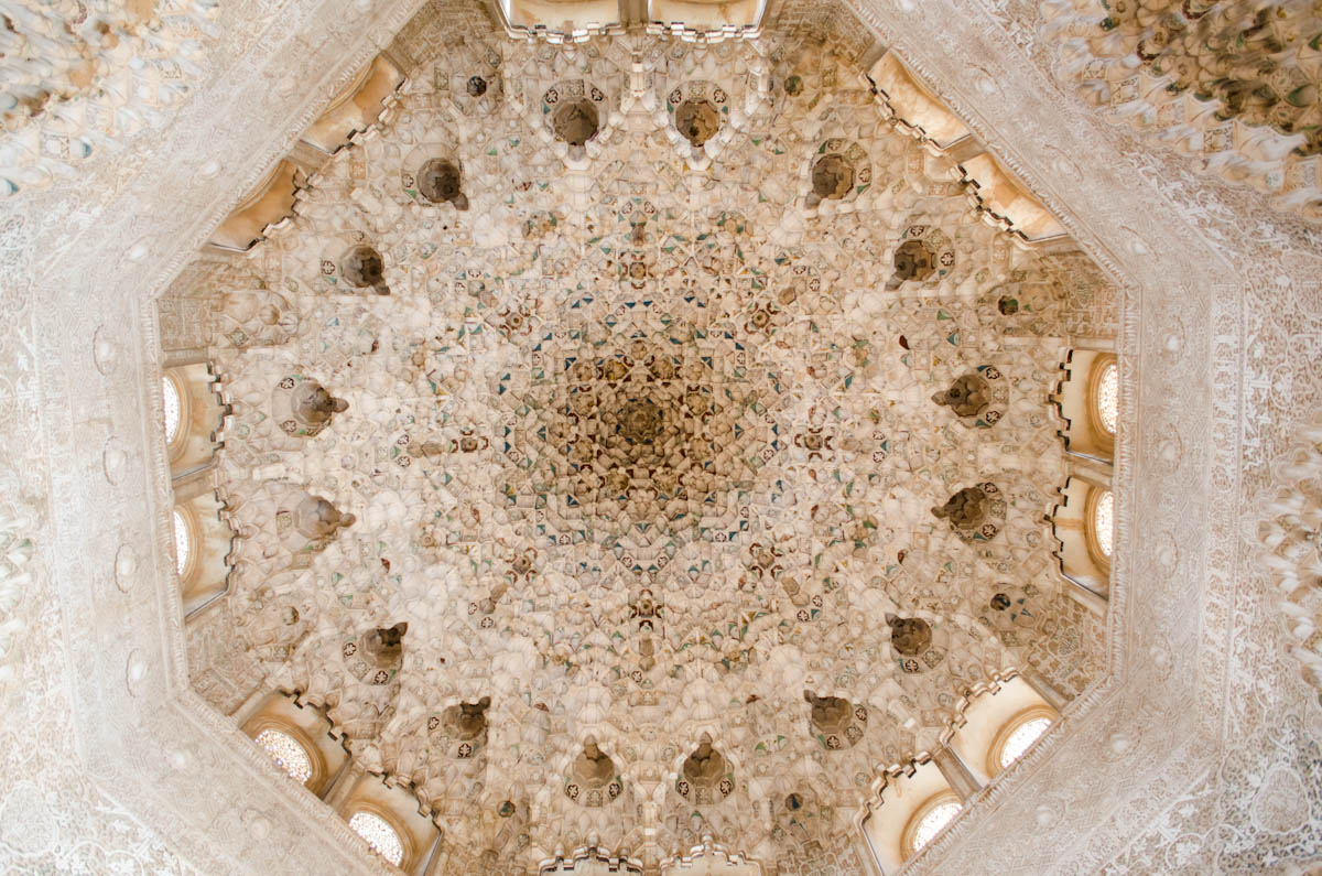 One of the intricately detailed ceilings in the Palacios Nazaries