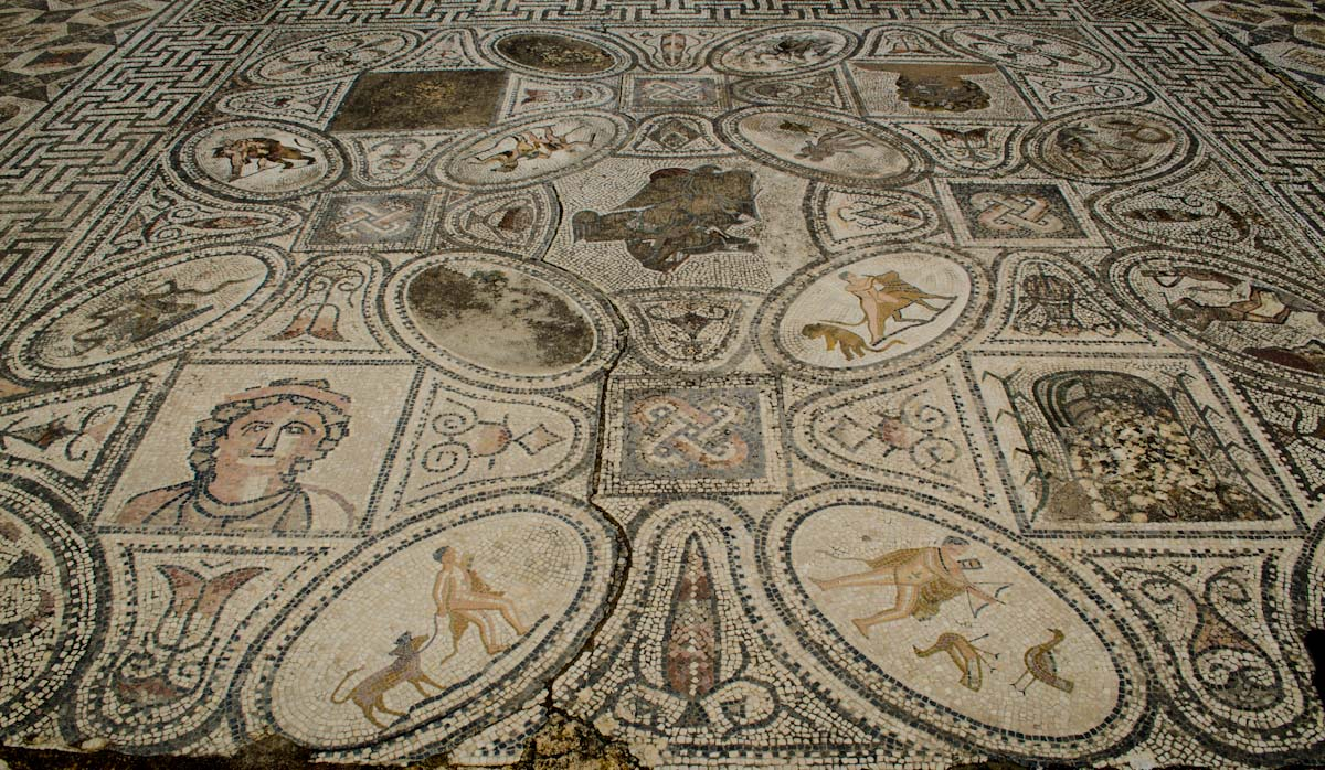 Mosaic floor.  12 tasks of hercules