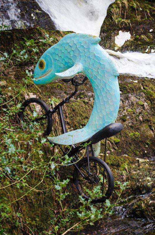 Ewe Sculpture Garden - fish riding a bike