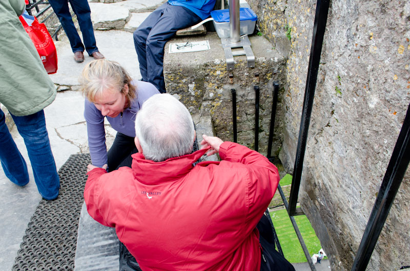 Kerri preparing to kiss the Blarney Stone