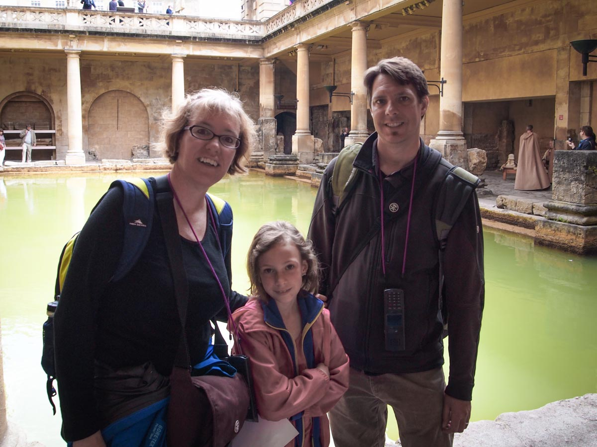 Kerri, Jason, and Sydney at the Roman Baths