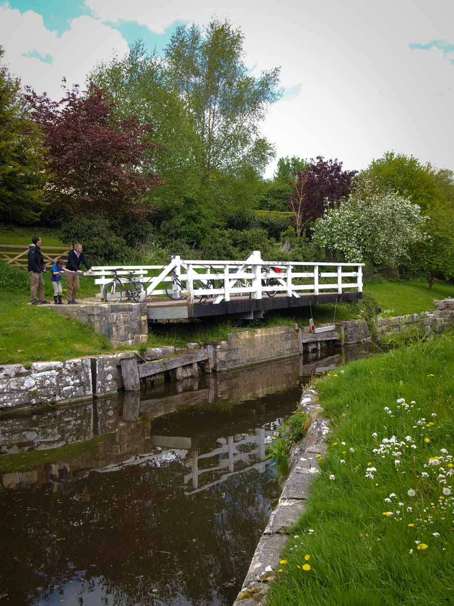 Helping out with one of the swing-bridges along the canal