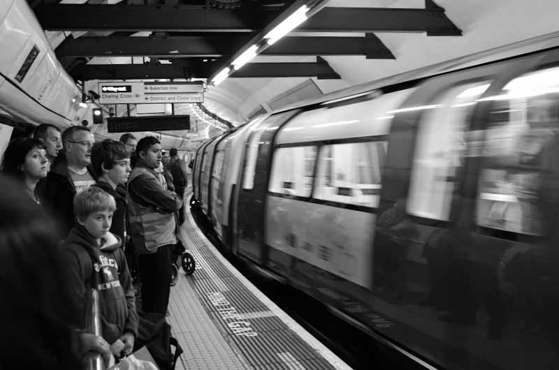 London Underground train approaching platform