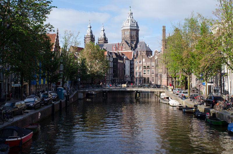One of many canals in Amsterdam