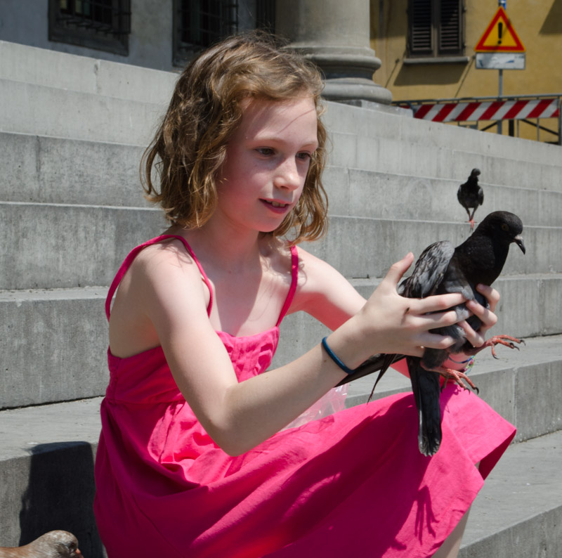 Sydney holding a Pigeon
