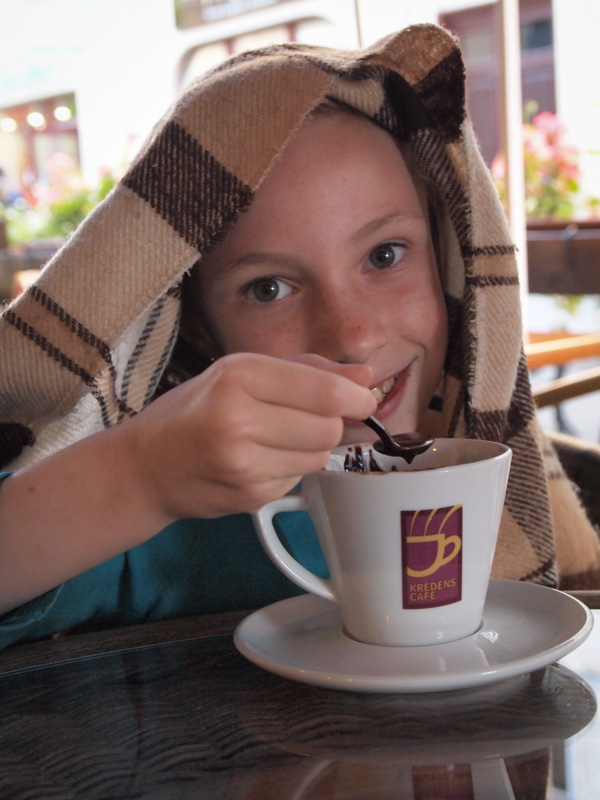 Sydney Enjoying Hot Chocolate