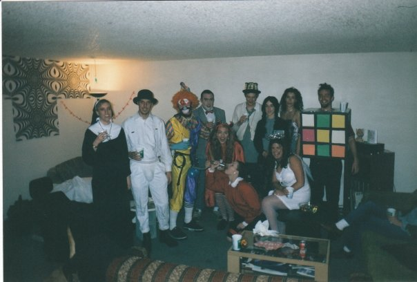 Crazy Halloween party in 1998. Kerri was a pregnant nun and I was Alex from A Clockwork Orange!