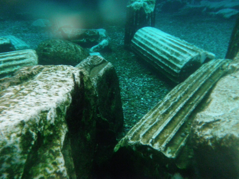Pillars and columns of the ancient pool