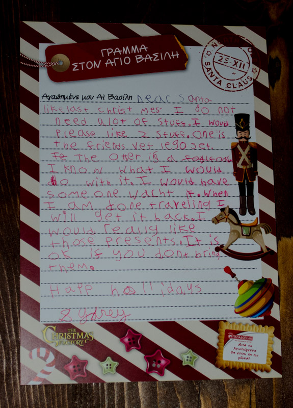 Sydney's letter to Santa asking for a horse