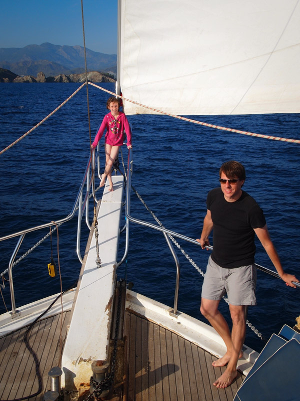 Sailing the Aegean Sea on a warm November day