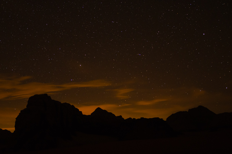 Stars in the night Wadi Rum