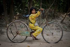 Cambodian Girl in Yellow Pajamas