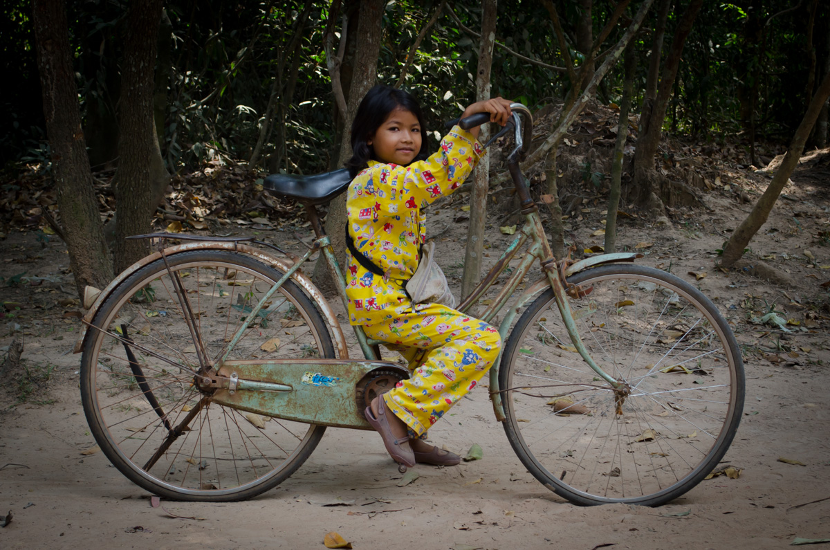 Cambodian Girl in Yellow Pajamas