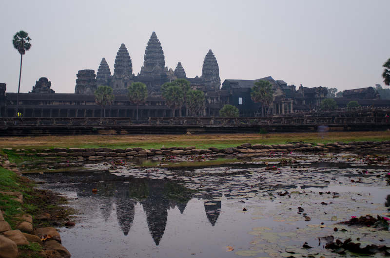 Angkor Wat sunrise with a lighter shade of grey