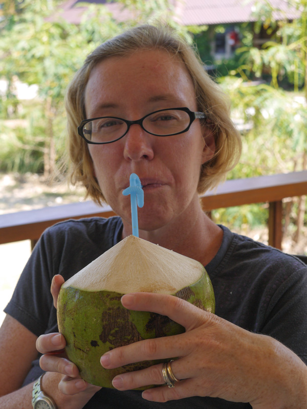 Enjoying Green Coconuts