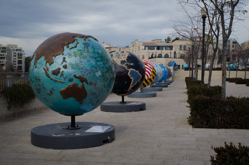 Globes displayed outside the Jaffa Gate to bring awareness to climate change