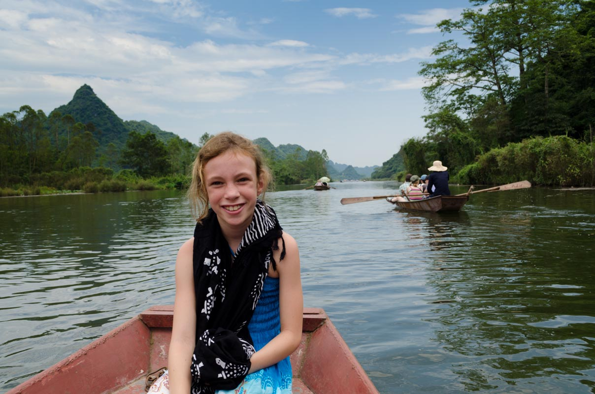 Boat ride up to the Perfume Pagoda