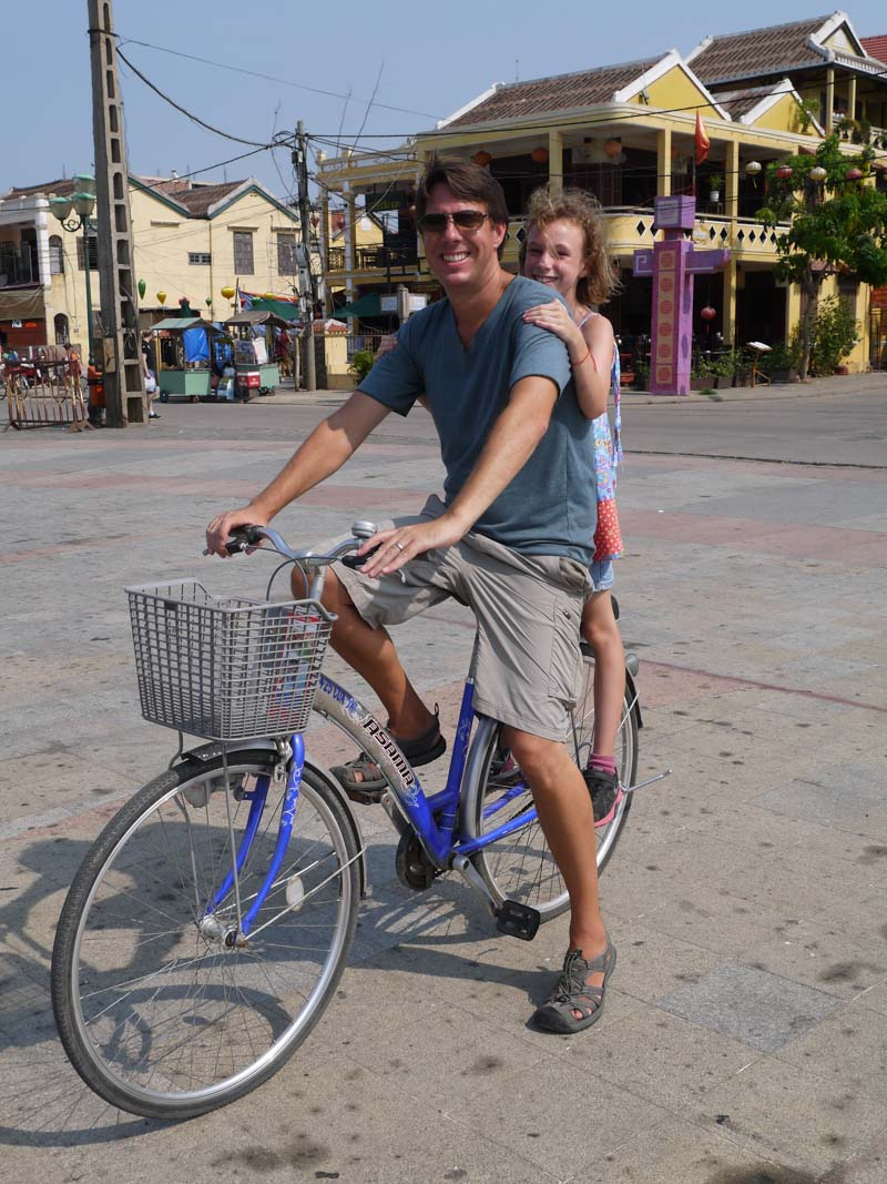 Jason and Sydney riding around Hoi an