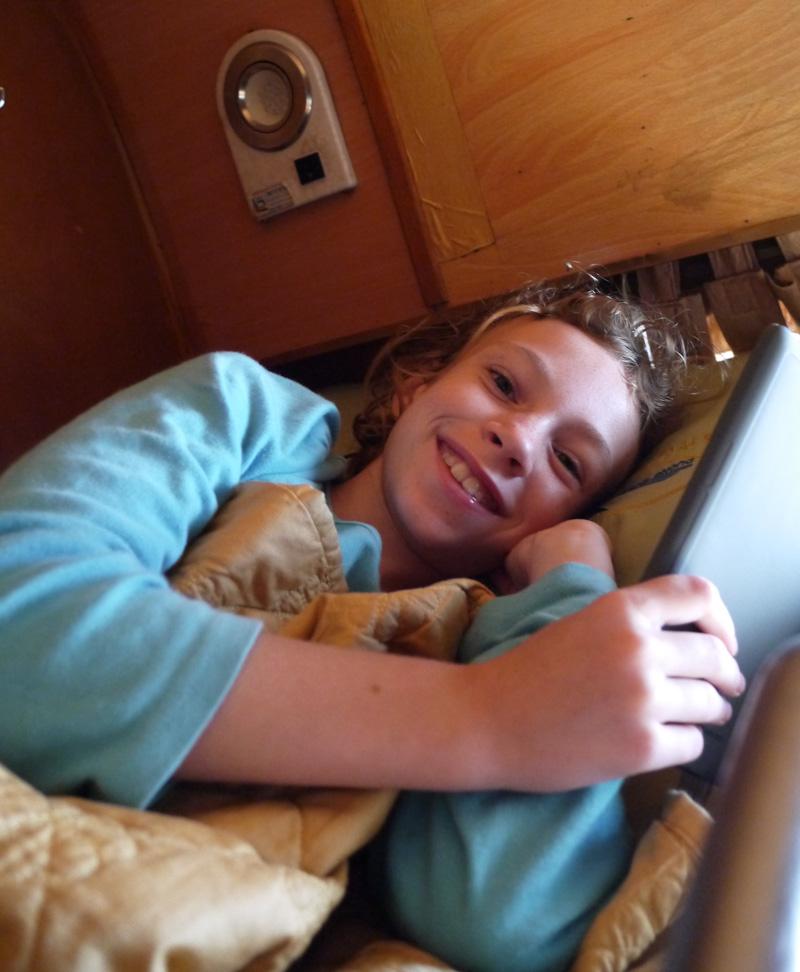 Sydney enjoying her sleeper berth