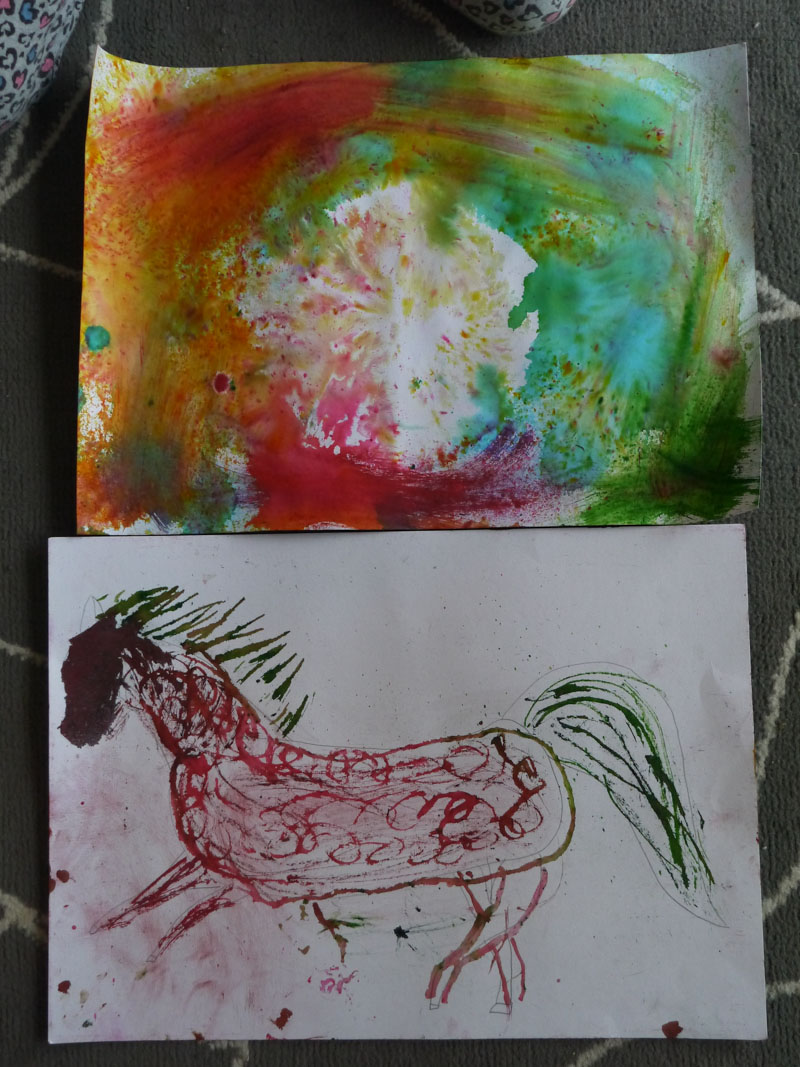 Sydney's paintings she made during art class