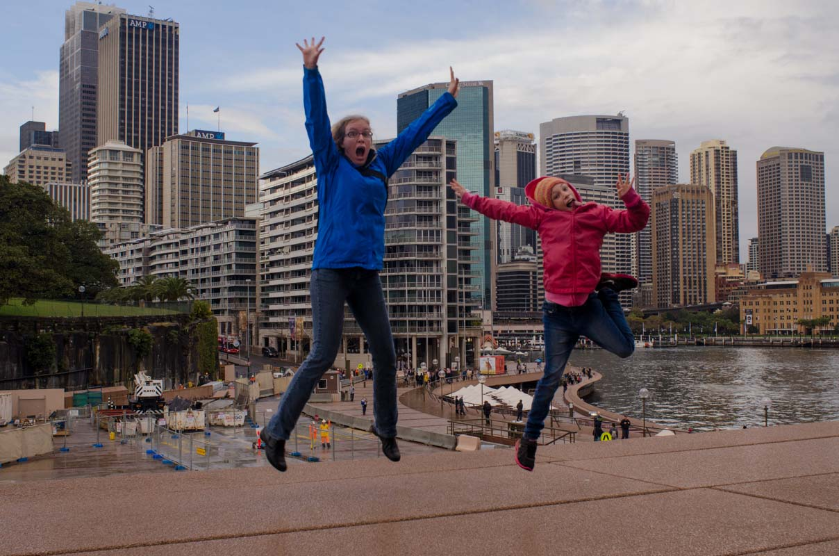 Jumping for joy to see the Opera House