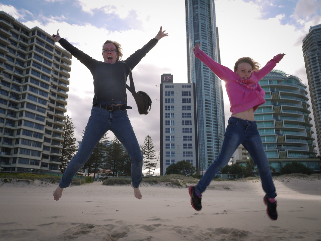 Jumping for Joy at Surfer's Paradise
