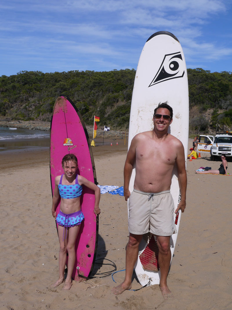 Surfing at Agnes Water Beach