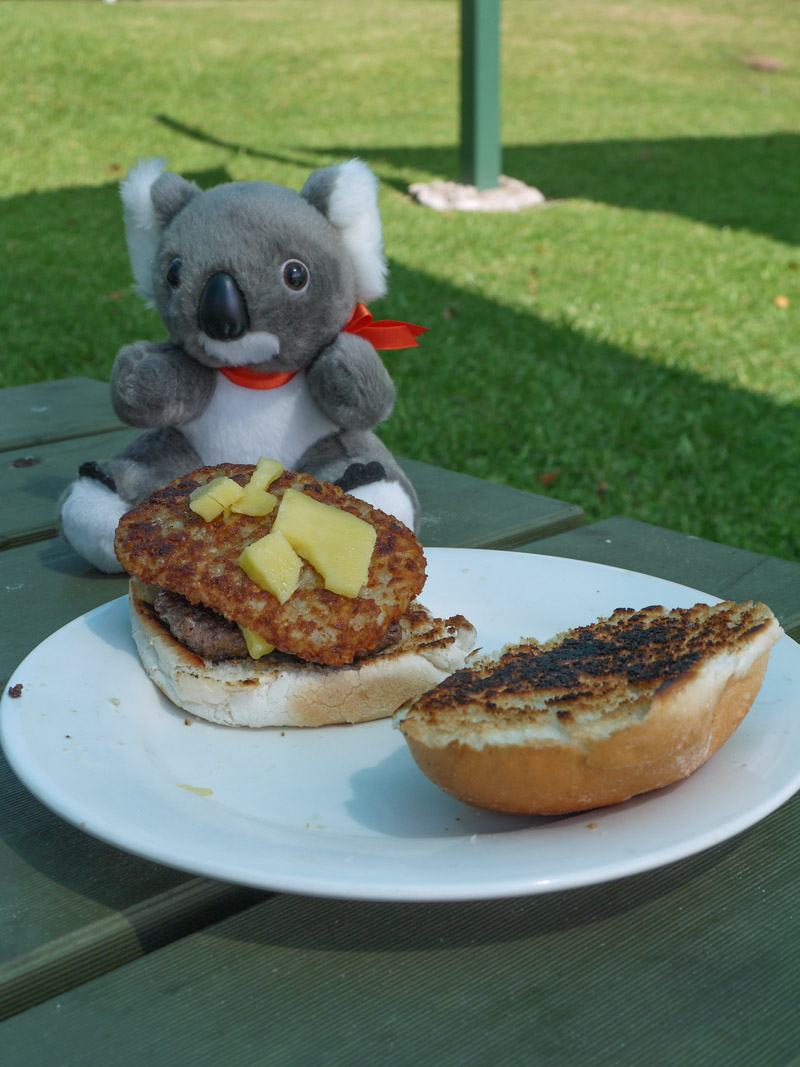 Barry enjoying a hamburger in Port Macquarie