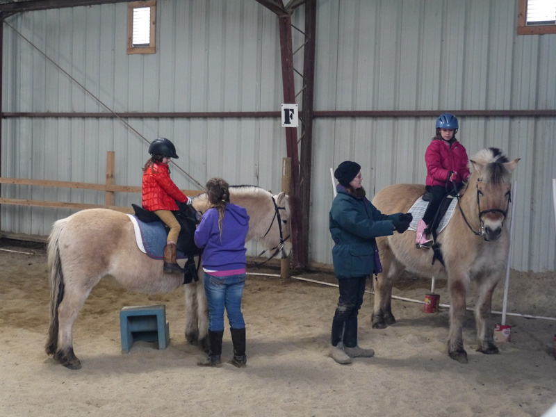 Horse riding lessons for Sydney and Addie