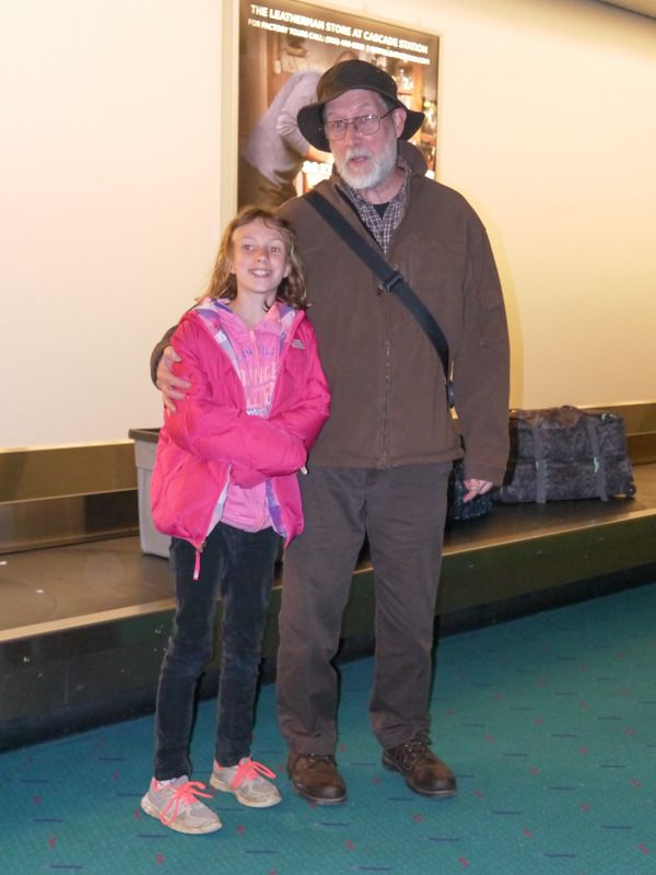 Sydney and her grandfather at PDX
