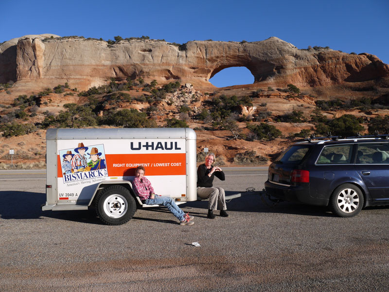 Everything we own in front of an arch in Utah